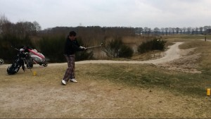 My cousin going for the fairway at 18